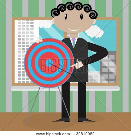 Presentation new strategic success right in the bullseye. Strategy success and goal target business. Vector flat design illustration