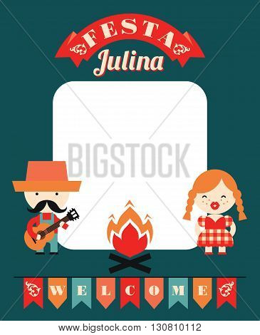Latin American holiday the June party of Brazil. Flat illustration with symbolism of the holiday