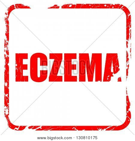 eczema, red rubber stamp with grunge edges