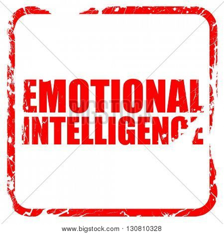 emotional intelligence, red rubber stamp with grunge edges