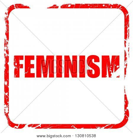 feminism, red rubber stamp with grunge edges