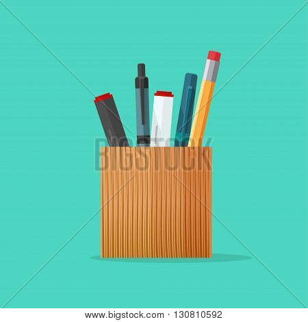 Pencil holder, pen holder,  wooden pencil and marker cup, pen case vector illustration, stationery set flat modern cartoon design isolated on green background
