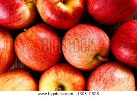 close up of fresh ripe apples  background