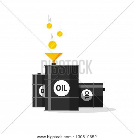 Oil barrels with funnel, gold coins falling to oil tanks, conversion, strategy, rich economy, currency exchange, production, expensive raw materials modern vector design isolated white background