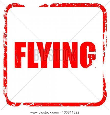 flying, red rubber stamp with grunge edges