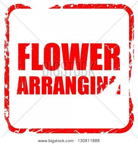 flower arranging, red rubber stamp with grunge edges
