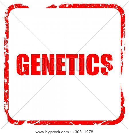 genetics, red rubber stamp with grunge edges