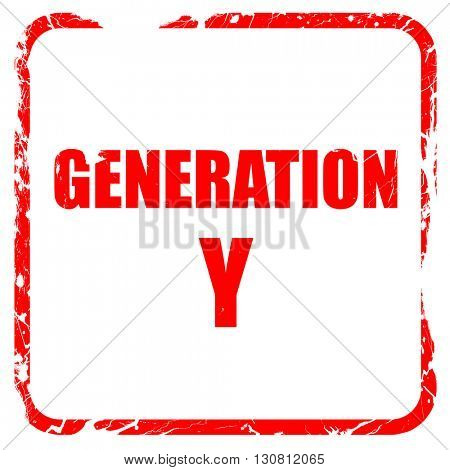 generation y word, red rubber stamp with grunge edges