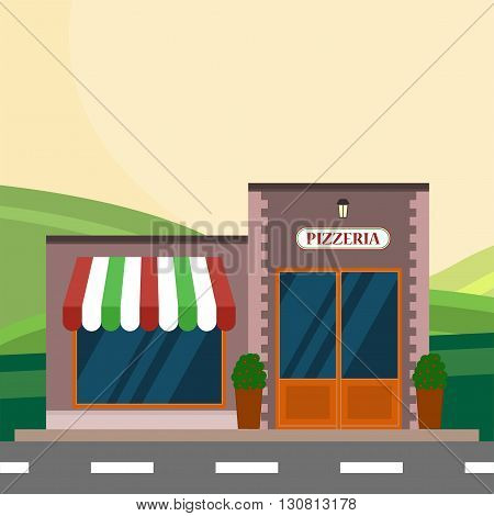 Modern landscape set with cafe, restaurant building. Flat style vector illustration. Flat pizzeria restaurant building block infographic concept. Street corner fast food pizza dinner