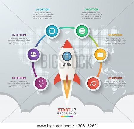Startup vector circle infographics with rocket launch and styled world map. 6 options parts steps processes business concept for graphs charts diagrams.