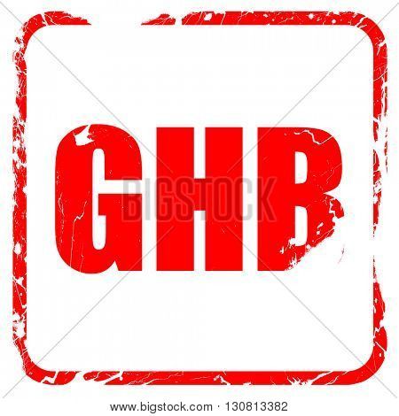 ghb, red rubber stamp with grunge edges