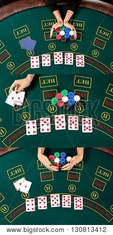 collage concept poker. Woman relies, reveals the card wins and takes the chips. top view of the hands and table