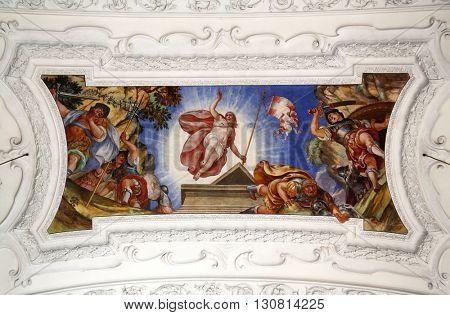 BENEDIKTBEUERN, GERMANY - OCTOBER 19: Resurrection of Christ, beautiful religious fresco in Benediktbeuern, Germany on October 19, 2014.