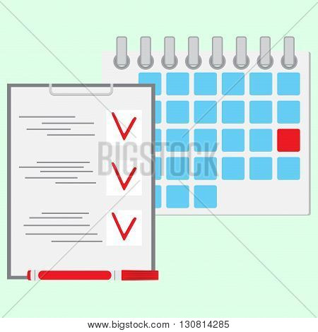 Deadline of daily work concept. Calendar day daily calendar diary and daily planner daily business icon. Vector flat design illustration