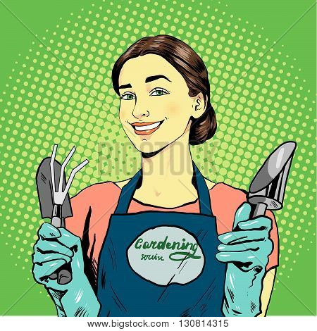 Woman with garden tools. Vector illustration in retro comic pop art style.