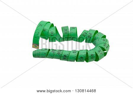 green measuring tape for sewing and needlework isolated over white