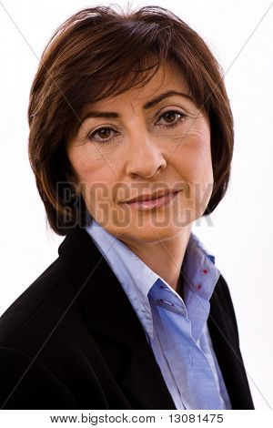 Portrait of senior executive businesswoman, white background.