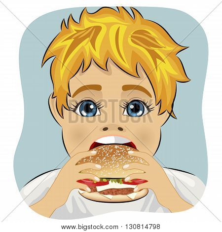 obese fat boy eating chicken cheese hamburger on blue background