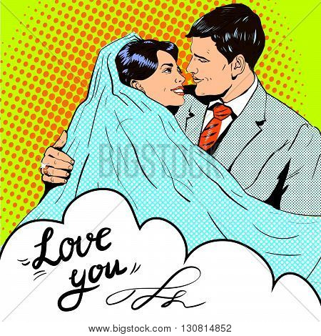 Bride and groom kissing each other. Vector illustration in pop art retro style. Love and relationships.