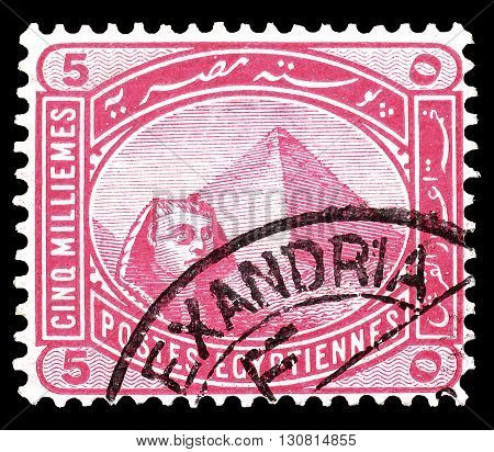 EGYPT - CIRCA 1888 : Cancelled postage stamp printed by Egypt, that shows Egypt Sphinx and pyramid.