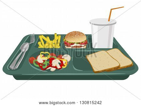 A school lunch tray on a white background with copy space