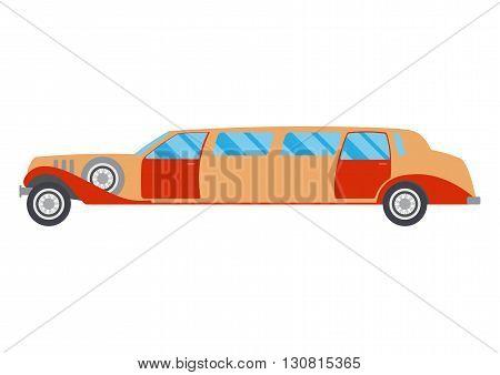 Retro limousine illustration. limousine on white background. Vintage limousine vector. limousine illustration. Retro limousine isolated vector