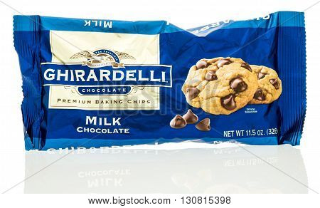 Winneconne WI - 19 May 2016: Package of Ghirardelli chocolate chips on an isolated background