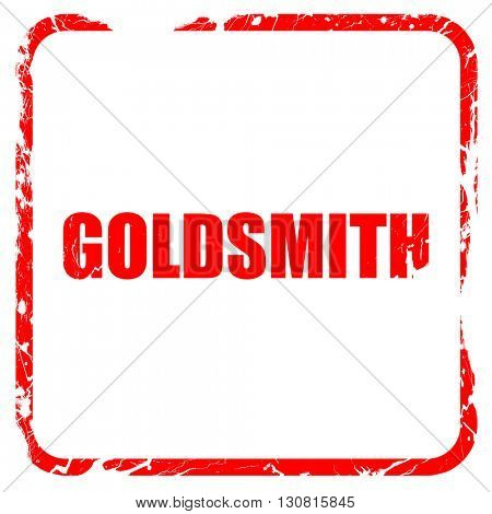 goldsmith, red rubber stamp with grunge edges
