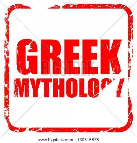 greek mythology, red rubber stamp with grunge edges
