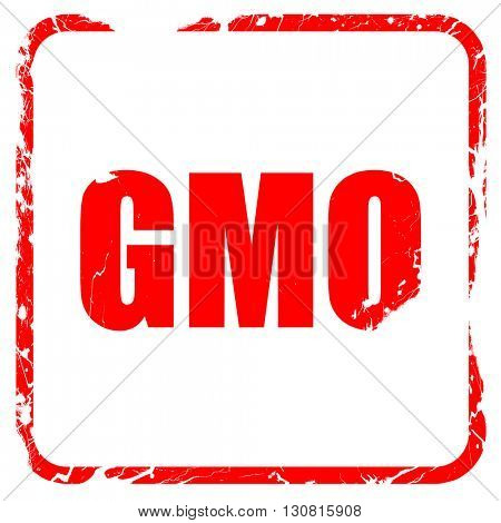 gmo, red rubber stamp with grunge edges