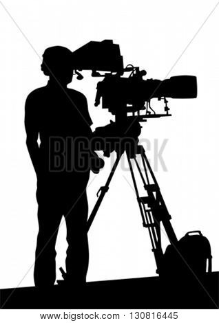 Journalist and tripod of video camera on white background
