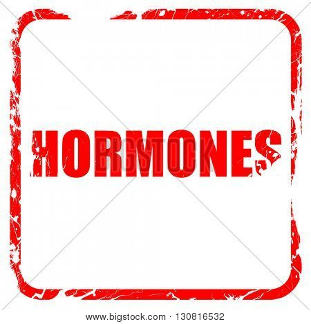 hormones, red rubber stamp with grunge edges
