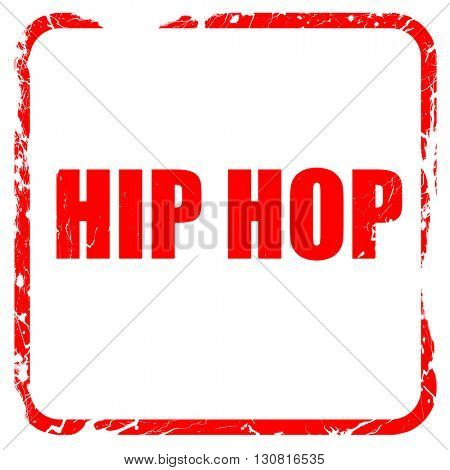 hip hop music, red rubber stamp with grunge edges