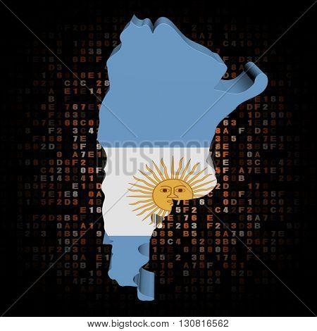 Argentina map flag on hex code 3d illustration