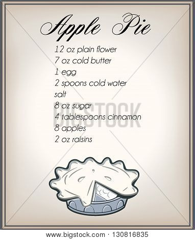 classic apple pie recipe with retro apple pie on an old paper background