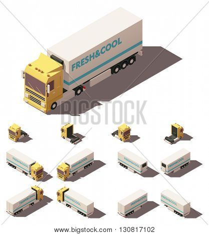Vector Isometric icon or infographic element representing truck or tractor with insulated or refrigerated semi-trailer. Every truck and trailer in four views with different shadows