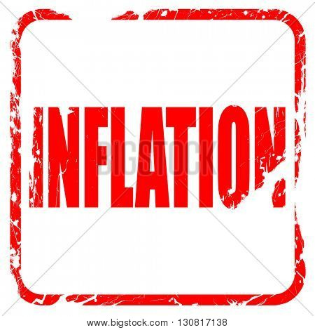 Inflation sign background, red rubber stamp with grunge edges