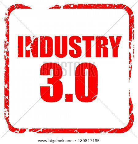 industry 3.0, red rubber stamp with grunge edges