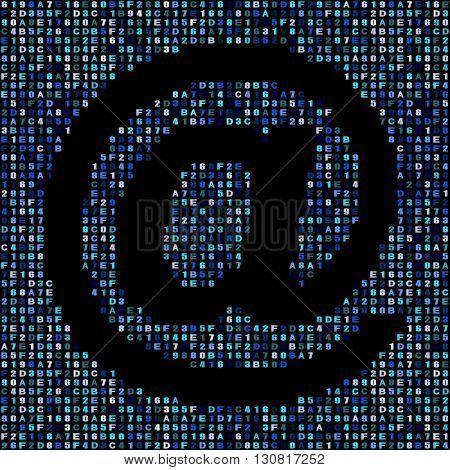 At symbol on blue hex code illustration