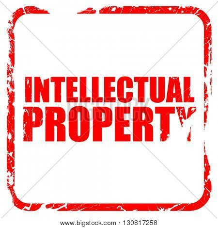 intellectual property, red rubber stamp with grunge edges