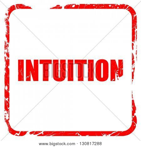 intuition, red rubber stamp with grunge edges