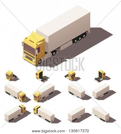 Vector Isometric icon or infographic element representing truck or tractor with box trailer or semi-trailer. Every truck and trailer in four views with different shadows
