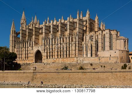 Cathedral La Seu in Palma Majorca at a sunny day.