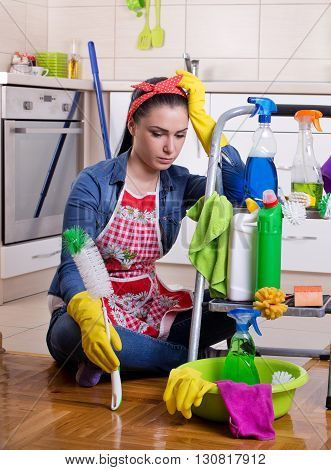 Tired And Unhappy Cleaning Lady
