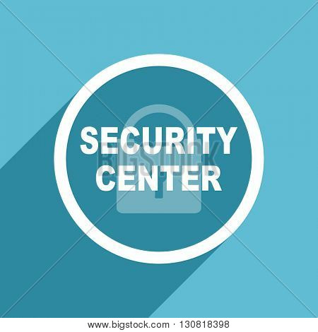 security center icon, flat design blue icon, web and mobile app design illustration