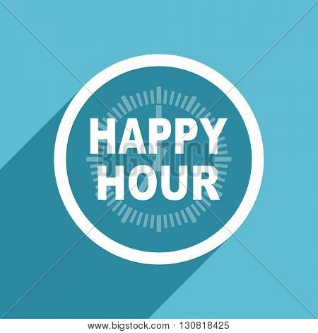 happy hour icon, flat design blue icon, web and mobile app design illustration