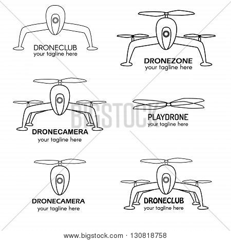 Vector set of drone logo. Perfect for design elements badges and labels. Drone copter in line style