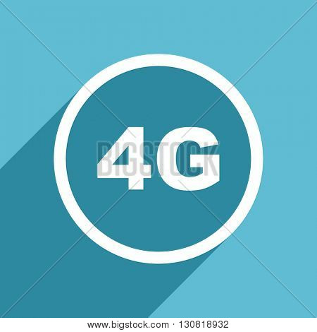 4g icon, flat design blue icon, web and mobile app design illustration