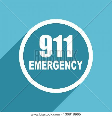number emergency 911 icon, flat design blue icon, web and mobile app design illustration
