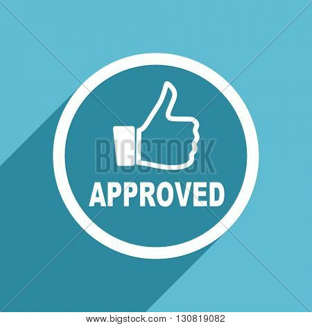 approved icon, flat design blue icon, web and mobile app design illustration
